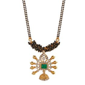 Emerald and Cluster Diamond Mangalsuthra