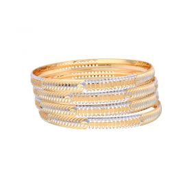 22K Two Tone Gold Bangle Set