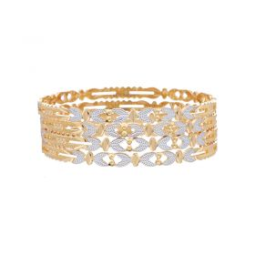 22K Two Tone Strencil Bangle Set