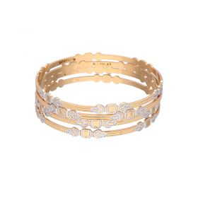 22K Two Tone Flattened Gold Bangles