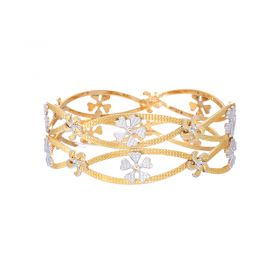 22K Two Tone Daisy Gold Bangles