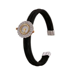 Gold And Diamond Watch In Black