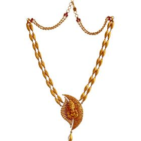 Rice-Bran Ganesha Gold Necklace