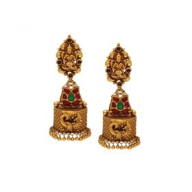 22Kt Gold Temple Lakshmi Jhunkies  559VA79