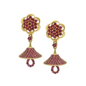 22K umbrella Cut Gold Jhumka Earrings