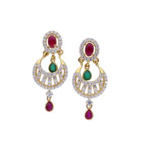 Precious Gemstone Blended Chandbali Earrings