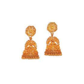 Antique Dual Peacock Gold Jhumkis