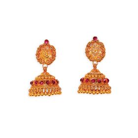 22K Antique Gold Jhumkis with Intricate Design