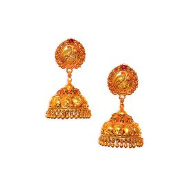 22K Antique Peacock Ornated Gold Jhumkis