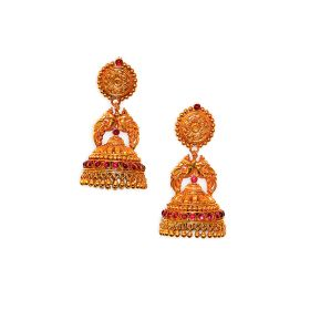 22K Antique Heavy Gold Jhumkis with Ruby Accents