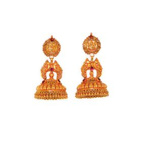 Antique Divine Mayur Gold Jhumkas