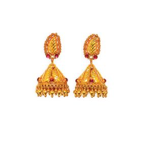 Antique Leaf Pattern Gold Jhumkis