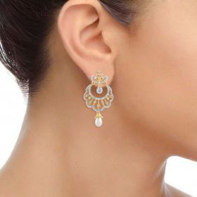Nayab Moti Diamond Chandbali Earring