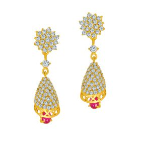 22k Cz Sparkle Gold Hanging Earrings