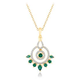Emerald Spiral Diamond Pendant
