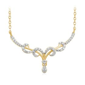 Graceful Curls Drop Diamond Pendant
