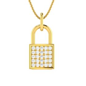 Diamond Studded Lock Pendant