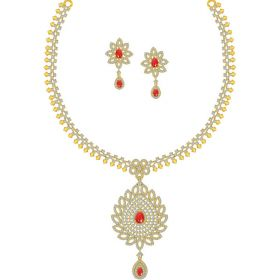 Unity Cz Gold Necklace Set