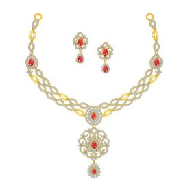 Oblong Cut Cz Gold Necklace Set