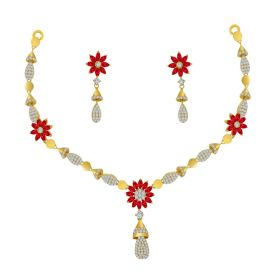 Chime Cz Gold Necklace Set