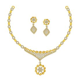 Cz Spindle Gold Necklace Set