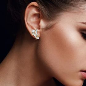 Gleaming Parallel CZ Studs Gold Earrings