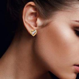 Flame in Heart CZ Gold Studs Earring