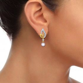 22k Trendy Paisley CZ and Pearl Gold Drop Earrings