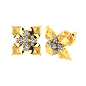 Vaibhav Jewellers 18k Yellow Gold and American Diamond Stud Earrings for Women VE-788
