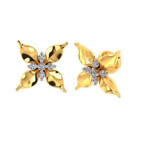 Vaibhav Jewellers 18k Yellow Gold and American Diamond Stud Earrings for Women VE-789