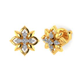 Vaibhav Jewellers 18k Yellow Gold and American Diamond Stud Earrings for Women VE-790