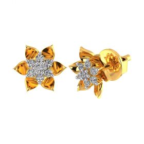Vaibhav Jewellers 18k Yellow Gold and American Diamond Stud Earrings for Women VE-791