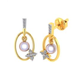Vaibhav Jewellers 18k Yellow Gold and American Diamond Drop Earrings for Women VE-792