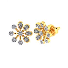 Vaibhav Jewellers 18k Yellow Gold and American Diamond Stud Earrings for Women VE-793