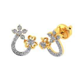Vaibhav Jewellers 18k Yellow Gold and American Diamond Stud Earrings for Women VE-794