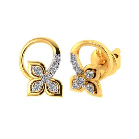 Vaibhav Jewellers 18k Yellow Gold and American Diamond Stud Earrings for Women VE-796