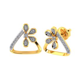 Vaibhav Jewellers 18k Yellow Gold and American Diamond Stud Earrings for Women VE-798