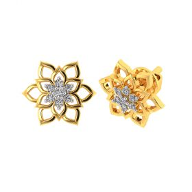 Vaibhav Jewellers 18k Yellow Gold and American Diamond Stud Earrings for Women VE-800