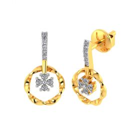 Vaibhav Jewellers 18k Yellow Gold and American Diamond Drop Earrings for Women VE-801