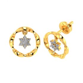 Vaibhav Jewellers 18k Yellow Gold and American Diamond Stud Earrings for Women VE-802