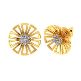 Vaibhav Jewellers 18k Yellow Gold and American Diamond Stud Earrings for Women VE-804