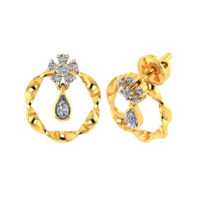 Vaibhav Jewellers 18k Yellow Gold and American Diamond Stud Earrings for Women VE-805