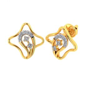 Vaibhav Jewellers 18k Yellow Gold and American Diamond Stud Earrings for Women VE-806