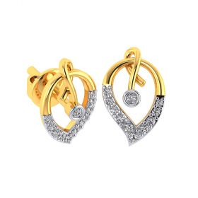 Vaibhav Jewellers 18k Yellow Gold and American Diamond Stud Earrings for Women VE-807