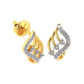 Vaibhav Jewellers 18k Yellow Gold and American Diamond Stud Earrings for Women VE-808
