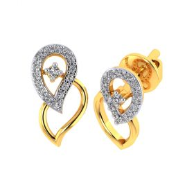 Vaibhav Jewellers 18k Yellow Gold and American Diamond Stud Earrings for Women VE-809