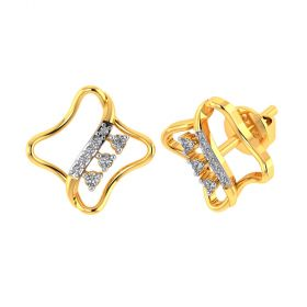 Vaibhav Jewellers 18k Yellow Gold and American Diamond Stud Earrings for Women VE-811