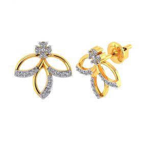 Vaibhav Jewellers 18k Yellow Gold and American Diamond Stud Earrings for Women VE-812