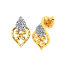 Vaibhav Jewellers 18k Yellow Gold and American Diamond Stud Earrings for Women VE-813