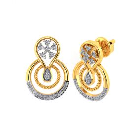 Vaibhav Jewellers 18k Yellow Gold and American Diamond Stud Earrings for Women VE-814